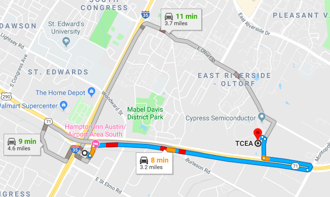 Map from Omni Hotel to TCEA